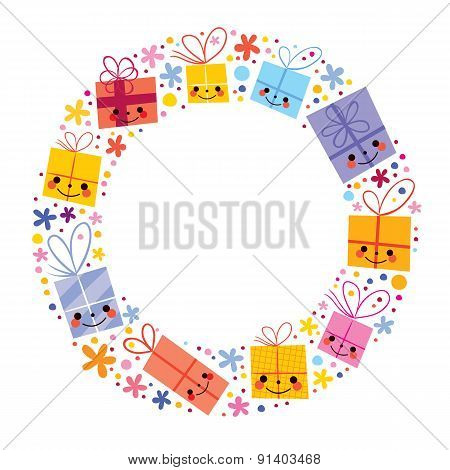 gifts present boxes holiday circle frame design element
