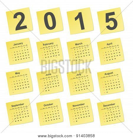 Vector simple calendar 2015 year on yellow stick notes.