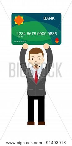Office worker holding a bank card.