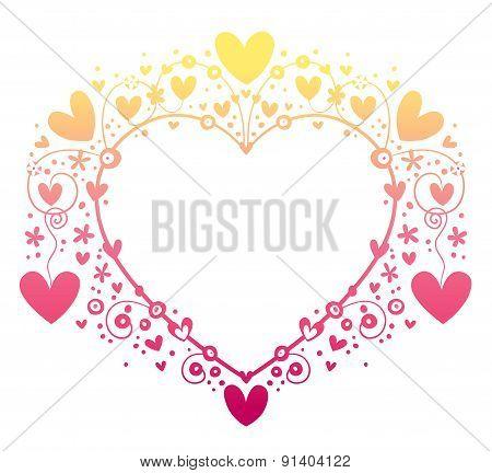 Valentine love heart decorative ornamental frame
