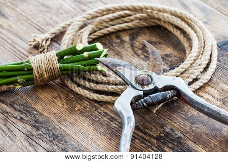 Garden Tools And Rope On The Wooden Table.