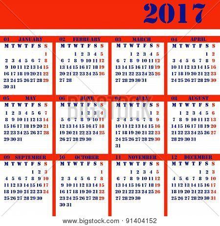 Calendar For The Year 2017