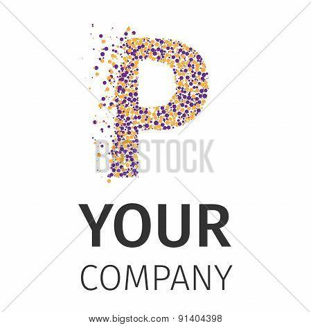 Alphabet particles logotype, Letter-P