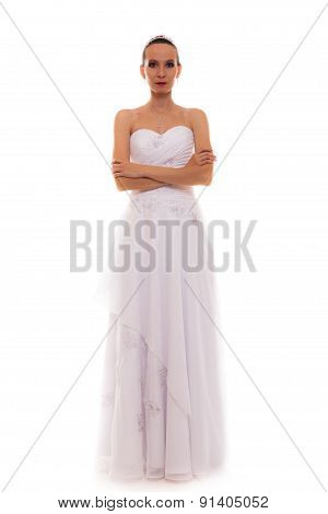 Full Length Bride In White Wedding Gown Isolated