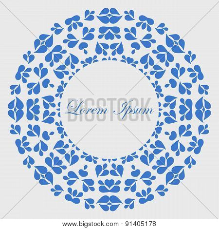 Blue round pattern with copy space