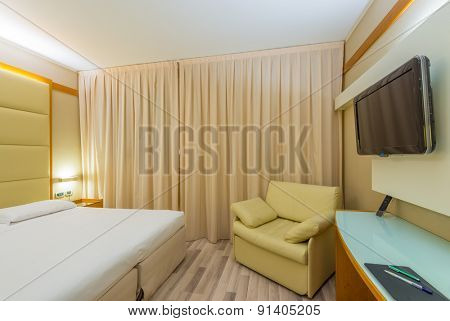 Fragment of beautiful and modern home and hotel bedroom interior design.