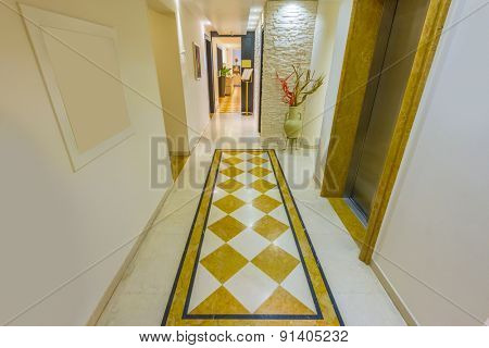 Fragment of modern corridor and stairs for five stars hotel