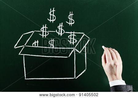 money outside the box