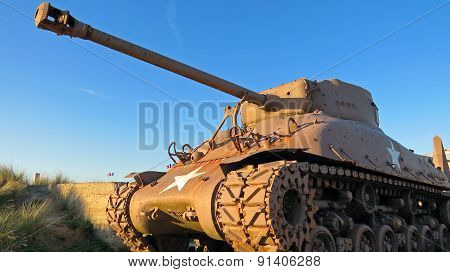 American WW2 Sherman tank during sunset