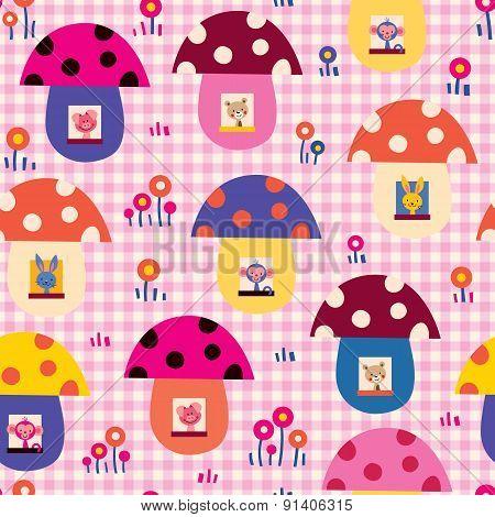 cute baby animals in mushroom houses kids pattern