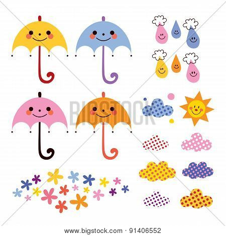cute umbrellas raindrops flowers clouds design elements set