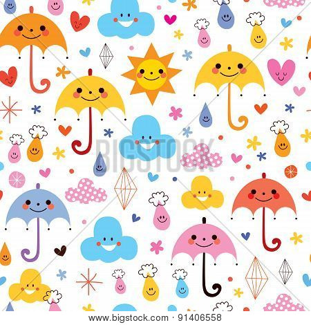 cute umbrellas raindrops flowers clouds sky seamless pattern