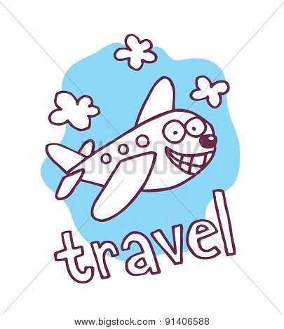 cute cartoon airplane mascot