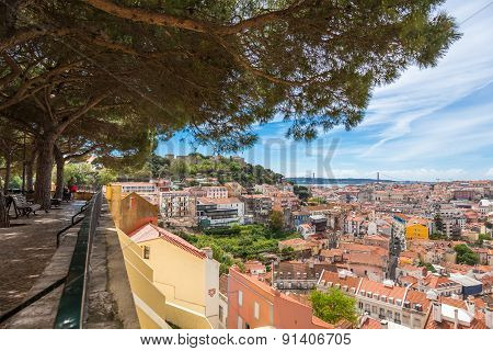 Miradouro Da Graca Viewpoint  In Lisbon, Portugal