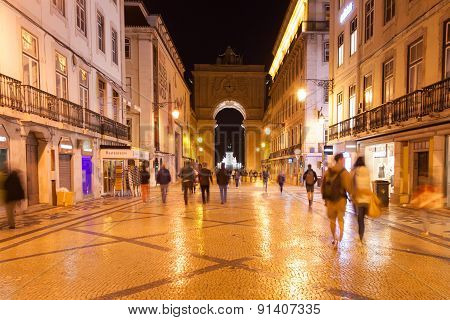 Augusta Street By Night Near Commerce Square In Lisbon , Portugal