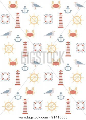 seamless pattern with marine motive. on white background