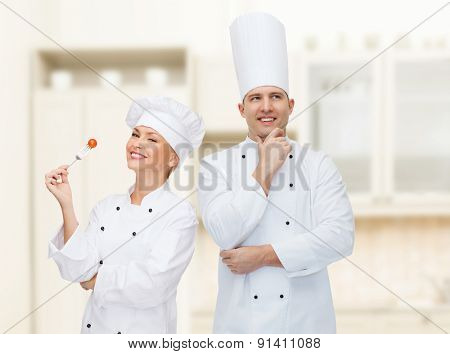 cooking, profession, inspiration and people concept - happy male chef cook thinking