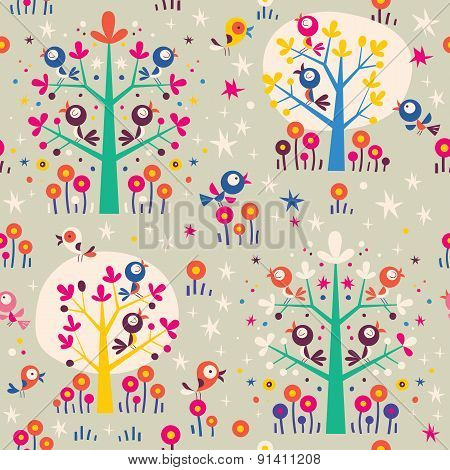 birds in the trees cartoon nature forest retro seamless pattern