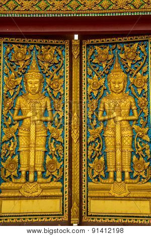 Temple Doors, Culture, Art, Thailand, Gate, Golden, Buddhism.