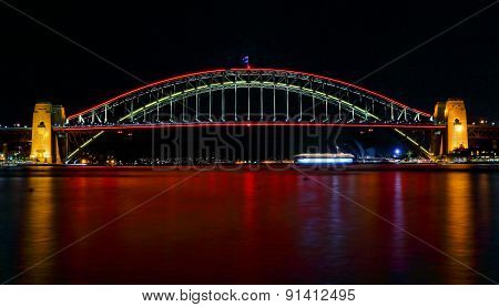 Sydney Harbour Bridge Lights In Red For Vivid Sydney Festival