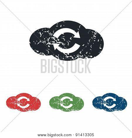 Cloud exchange grunge icon set