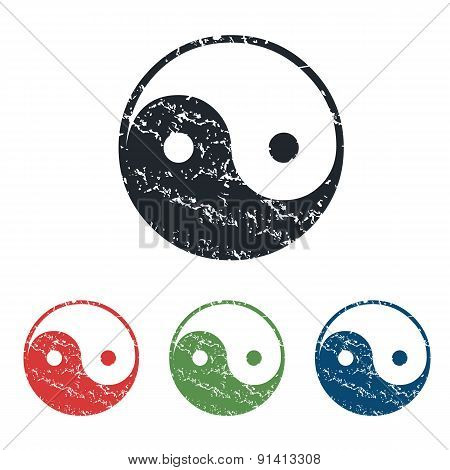 Ying yang grunge icon set