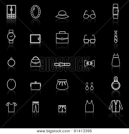 Dressing Line Icons With Reflect On Black