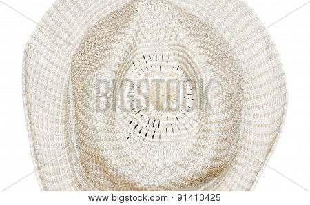 Straw Woven Hat Isolated On White Background