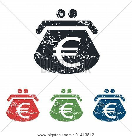 Euro purse grunge icon set