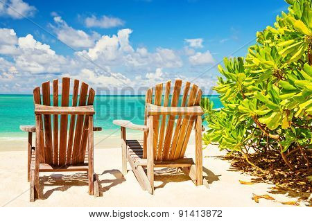 Two Beach Chairs On Tropical Shore, Horizontal Composition