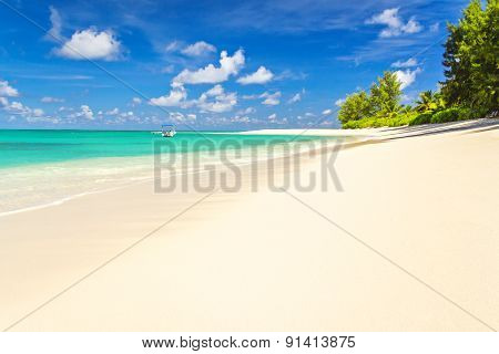 Perfect Tropical Beach With White Sand, And Crystal Clear Sea