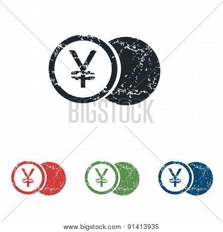 Yen coin grunge icon set