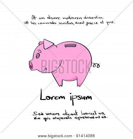 Piggy Bank Ping Hand Draw Logo Color Icon Vector