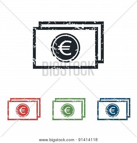 Euro bill grunge icon set