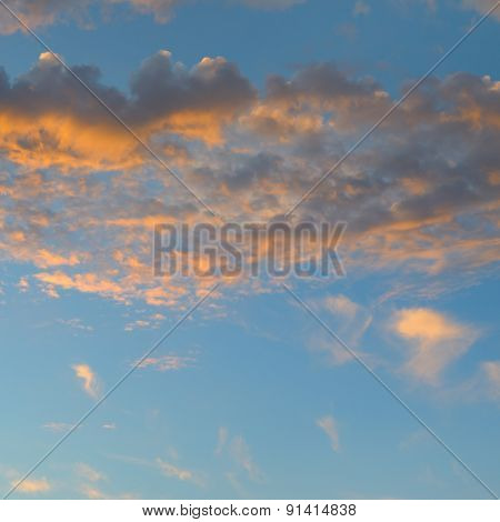 Beautiful Sunrise And Cumulus Clouds