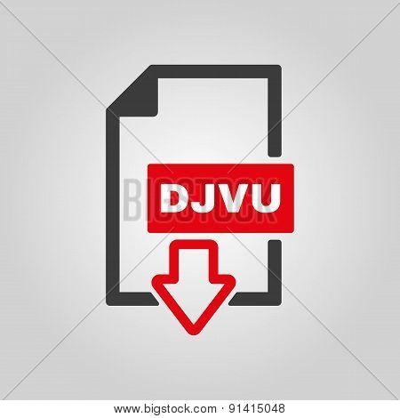 The Djvu Icon. File Format Symbol. Flat