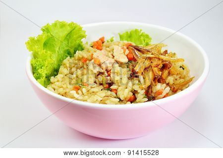 Japanese fried rice with salmon