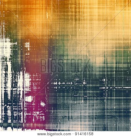 Abstract composition on textured, vintage background with grunge stains. With different color patterns: yellow (beige); brown; purple (violet); green