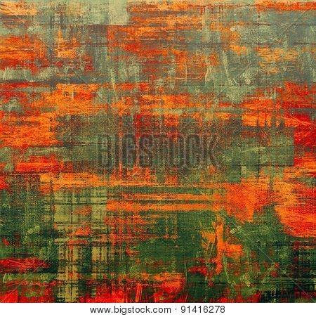 Old abstract texture with grunge stains. With different color patterns: yellow (beige); gray; red (orange); green