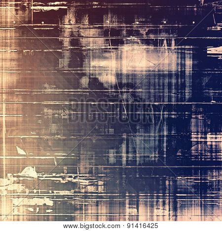 Abstract composition on textured, vintage background with grunge stains. With different color patterns: brown; gray; purple (violet); blue