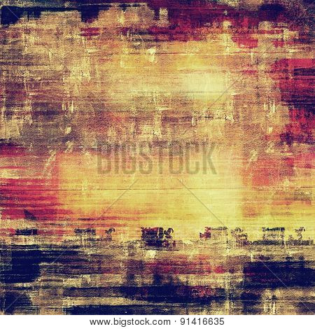 Abstract composition on textured, vintage background with grunge stains. With different color patterns: yellow (beige); brown; purple (violet); blue
