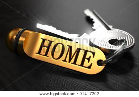 Keys with Word 'Home' on Golden Label.