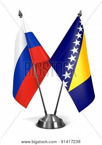 Russia, Bosnia and Herzegovina Miniature Flags.