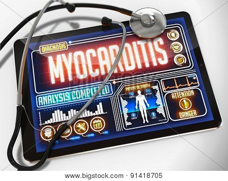 Myocarditis on the Display of Medical Tablet.