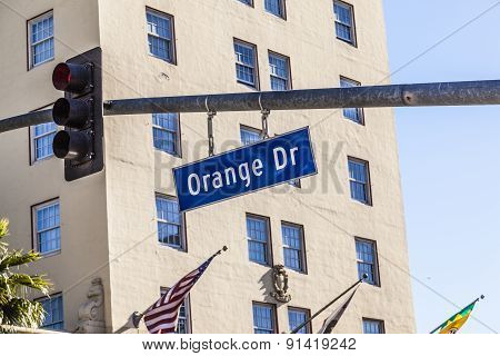 Orange Drive Street Sign In Hollywood
