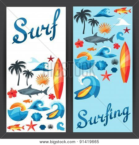 Banners with surfing design elements and objects