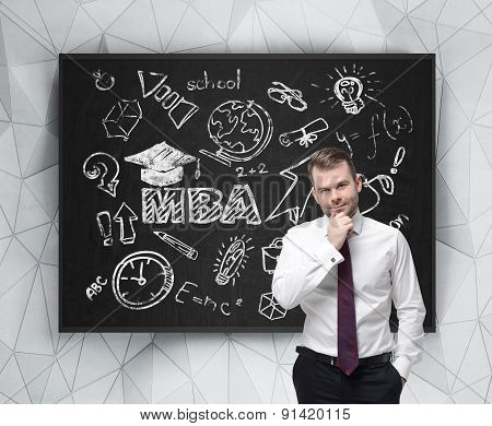 Senior Manager Is Thinking About Getting Of The Business Degree. A Concept Of The Mba Degree. Drawn