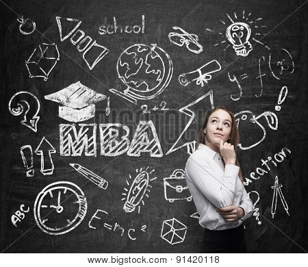A Lady Is Pondering Over The Business Degree. A Concept Of The Mba Degree. Drawn Educational Icons O