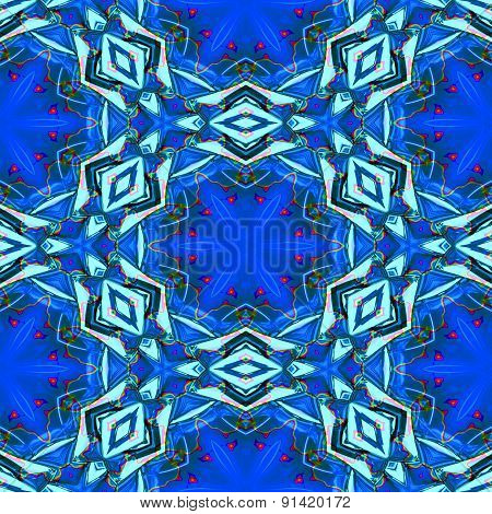 Seamless Abstract Blue Geometric Texture Or Background With Oil Blotch