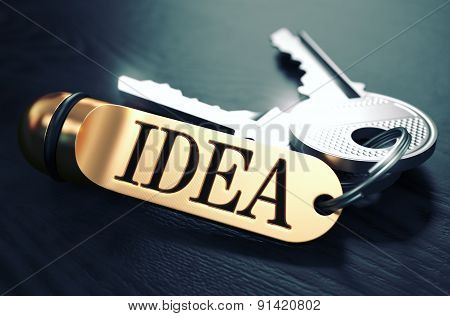 Idea written on Golden Keyring.